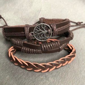 Leather 3 Piece Bracelets Tree of Life Layer NEW
